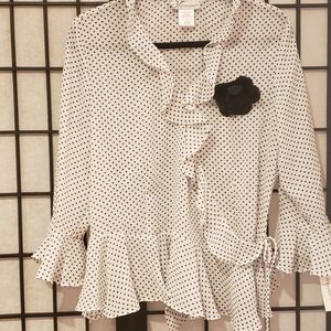 Ladies long Sleeve  Blouse Sz L Blk/WT Polka Dot